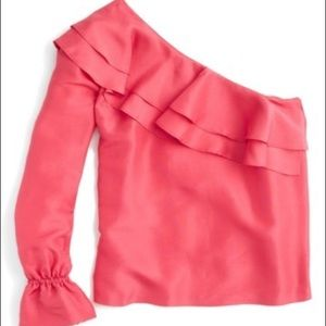 J.crew one Shoulder Silk blouse
